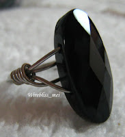 Close up of Wire Wrap Ring - Black Onyx