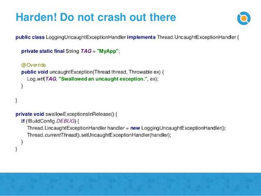 "Jake Wharton on Twitter: ""Never do this. Ever! Crash the instant something is wrong. It's so much more useful.  (via ) """