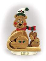 Christmas Bear 2013 Woodworking Plan - fee plans from WoodworkersWorkshop® Online Store - bears,Christmas,sleds,full sized patterns,woodworking plans,woodworkers projects,blueprints,drawings,blueprints,how-to-build,MeiselWoodHobby