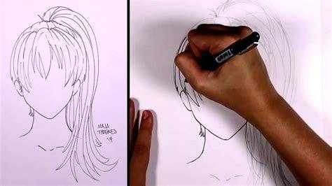 draw manga hair ponytail girl mlt youtube