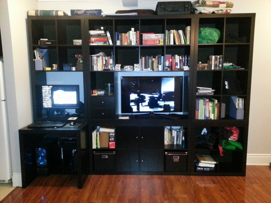 Expedit Wall-unit/TV, with built-in desk - IKEA Hackers ...