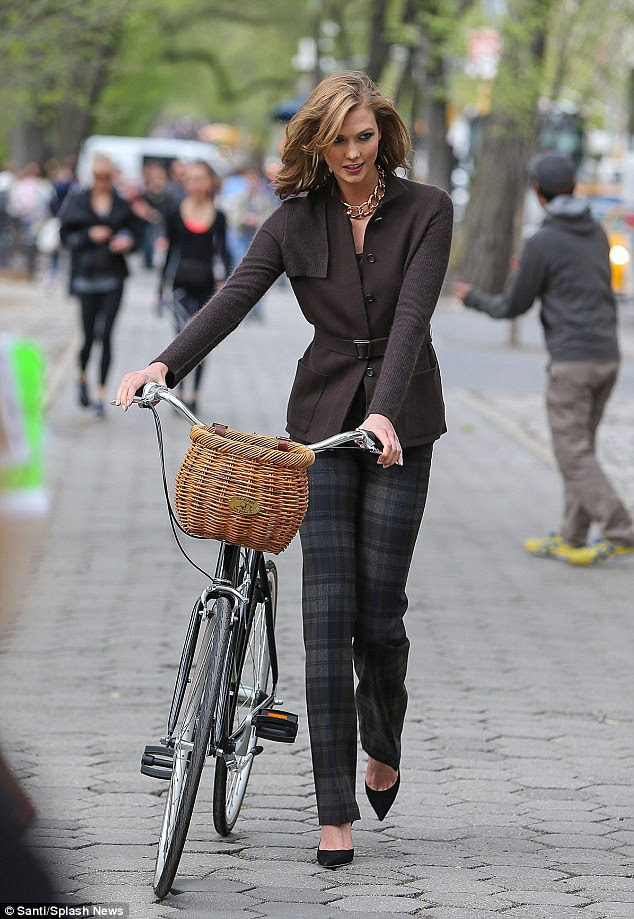 What a pro! The 21-year-old safely maneuvered and dismounted the bike while wearing the stiletto heels she was modelling