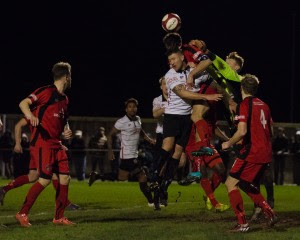 Buxton keeper Myles Wright punches away a corner under heavy pressure (1 of 1)