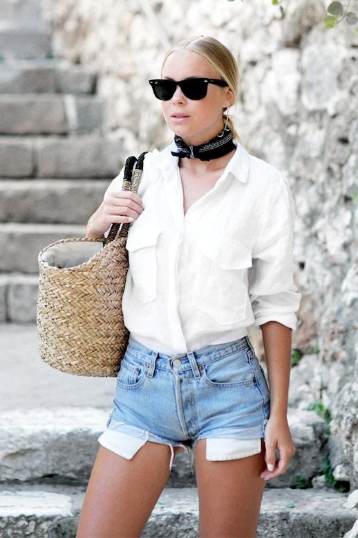 Le Fashion Blog Casual Summer Style Sunglasses Neck Scarf White Button Down Blouse Basket Bag Cut Off Jean Shorts Via Victoria Tornegren