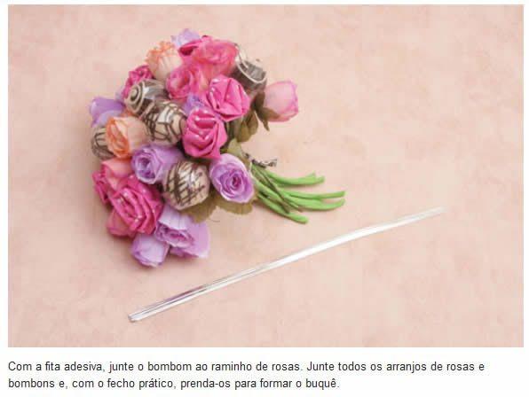 Passo a passo para o Dia das Mães 8 Bouquet de flores com bombom passo a passo