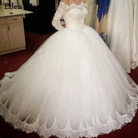 Long Sleeve Ball Gowns Wedding Dresses 2017 Beading