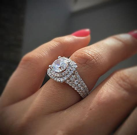 Gabriel & Co Engagement Rings Double Halo 1ctw Diamonds in