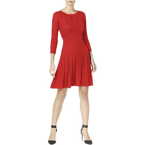 79e76660707 Calvin Klein Womens Cable Knit Fit   Flare Sweaterdress Red - Google ...