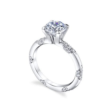 "Michael B. ""Petite Crown Lace"" Pavé Diamond Engagement"