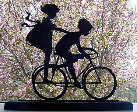 Wood Cut Bicycle Ride Silhouette Ornament