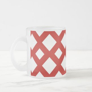 White Diamonds on Red Coffee Mugs