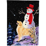 Golden Retriever Flag with Snowman in Red Hat Canvas House Size
