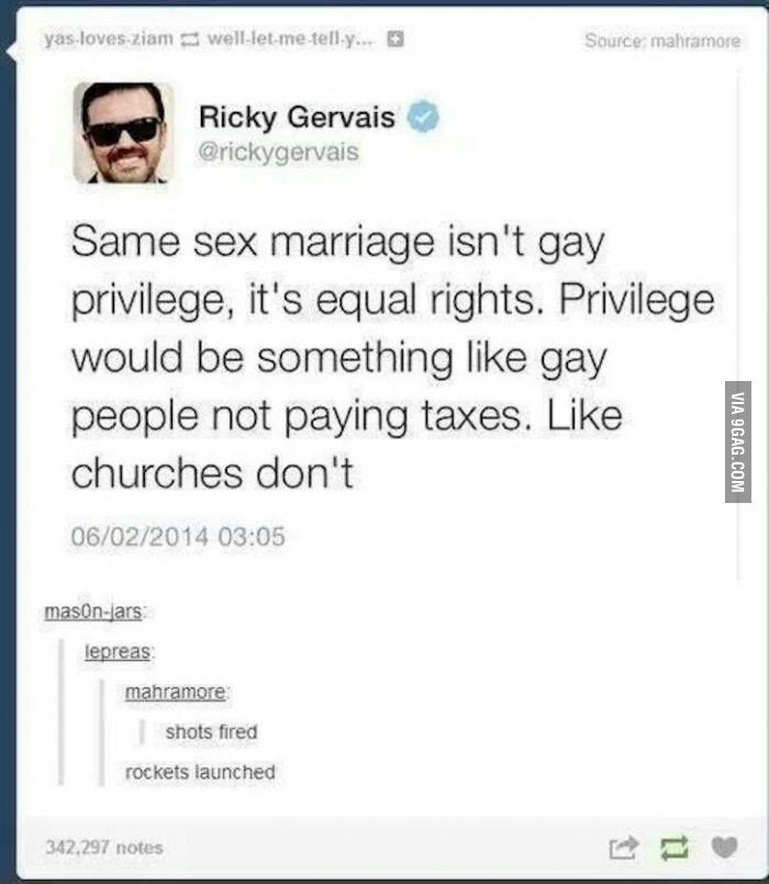 Quote Of The Day Ricky Gervais On Gay Marriage