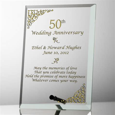 Elegant Personalized 50th Wedding Anniversary Glass Plaque