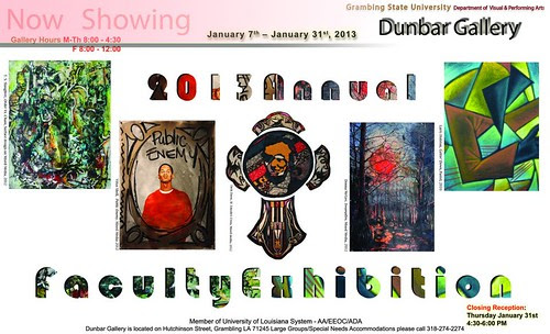 Grambling State University, Dunbar Gallery: exhibit reception Th, Jan 31 by trudeau
