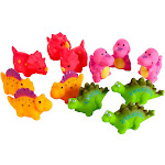 Blue Panda Bath Toy - 12-Pack Bathtub Toys, Rubber Squirter Toys Baby Boys Girls, 4 Types Dinosaurs, Ages 3 Up