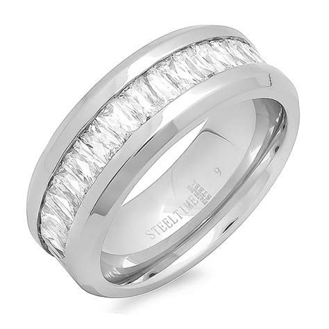 Women's Stainless Steel Engagement and Wedding Rings