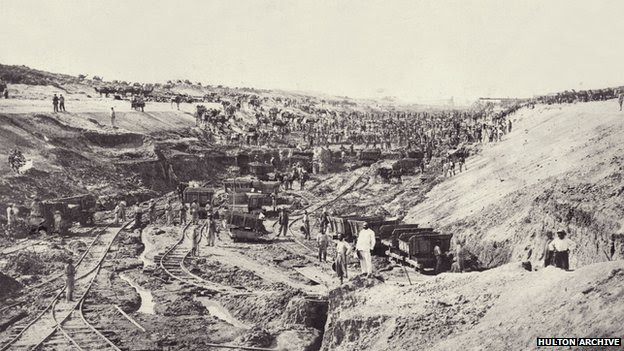 Construction of the first Suez Canal in Egypt (1859)