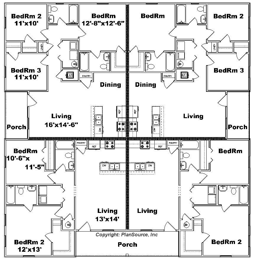 4-plex apartment plan J0917-13-4