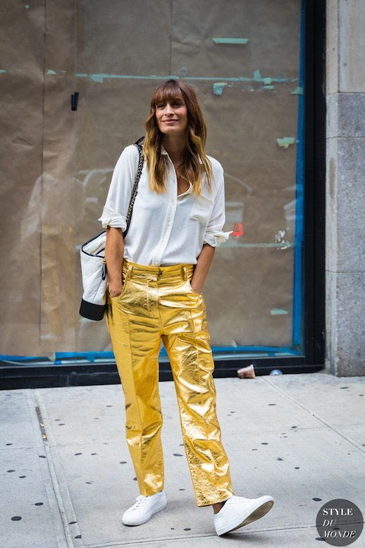 Le Fashion Blog White Silk Button Down Gold Metallic Pants White Sneakers Via Style Du Monde Caroline de Maigret French Style