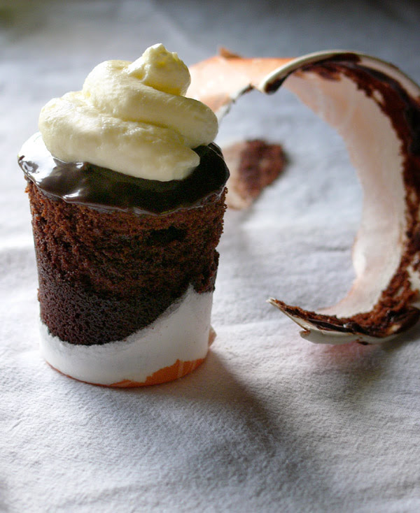 chocolate-coffee cupcake with mocha ganache and mascarpone cream