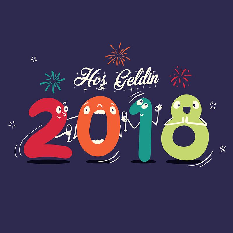 Vektörel çizim Hoş Geldin 2018