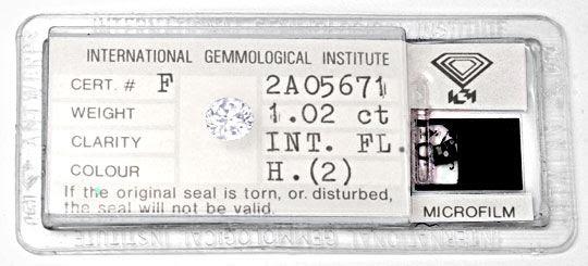 Foto 1, Diamant Einkaräter 1,02ct IGI Lupenrein Weiss-H Diamond, D5654