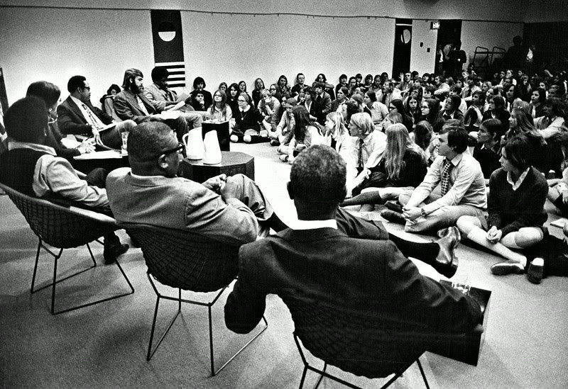 "Description of  MAR 25 1971 - Panelists for ""Black Awareness Day"" at Kent School command rapt attention of capacity crowd of students, grades six through 12, including some from Denver Country Day School. (Duane Howell/The Denver Post)"