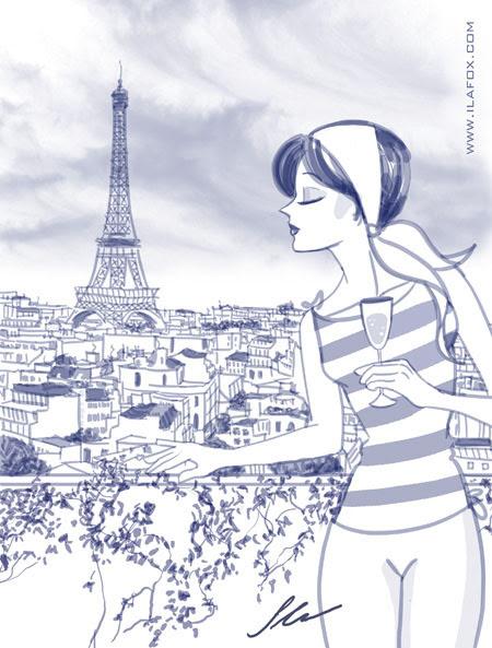luxo, poder e glamour, ilustração mulher em paris olhando torre eiffel - ilustração