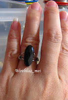 Wire Wrap Ring - Black Onyx around finger