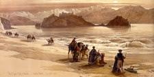 Caravana de árabes bordeando el Mar Rojo junto a la isla del Faraón en la península del Sinaí (EGIPTO)