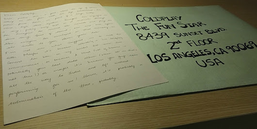 Letter Writing Update #4 : Dear Coldplay