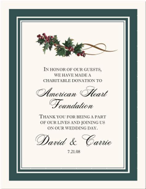 Wedding Charity Donation Cards Celtic Themed Wedding Favor