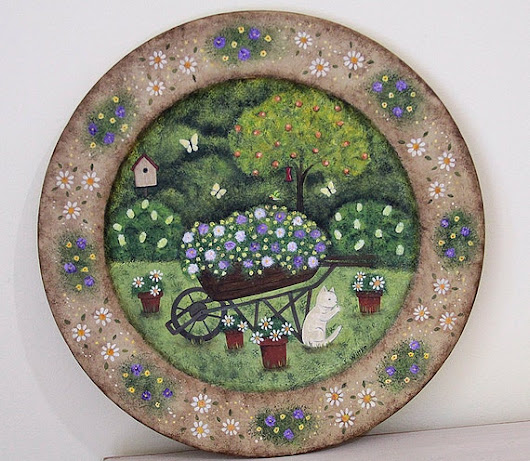 Folk Art Painting on Wood Plate Rustic by RavensBendFolkArt