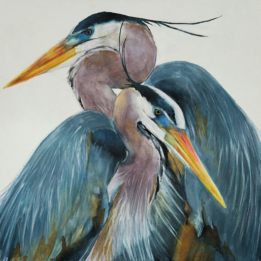 Great Blue Heron Couple by Jani Freimann