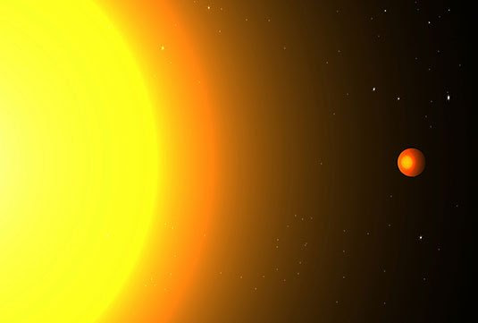 Artist's illustration of a planet in very near orbit to its star