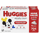 Huggies Simply Clean Baby Wipes, Unscented - 704 count