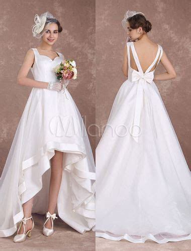Wedding Dresses Ivory High Low Beach Bridal Gown Queen