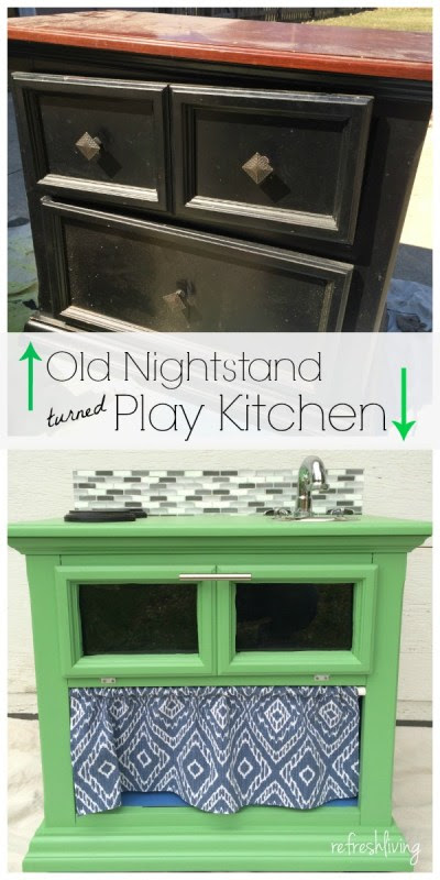 nightstand to play kitchen upcycle