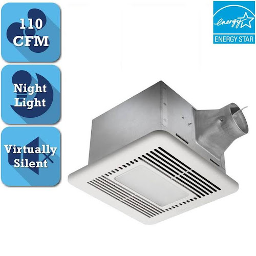 Signature G2 Series 110 CFM Ceiling Bathroom Exhaust Fan with LED Light and Night-Light, Energy Star*, White