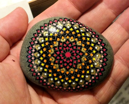Hand Painted Alchemy Stone with Black Red Orange by AlchemyStones