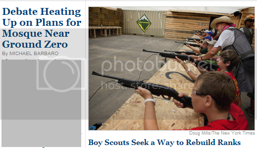 Boy Scouts shooting guns, because why not?  Next to a headline about Teh Mosque at Ground Zero!!!1!