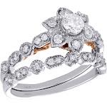 14K Two Tone Gold Diamond Flower Engagement + Wedding Rings Bridal Set 0.75 CT.