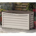 Suncast Light Taupe Resin Deck Box with Rollers, Gray