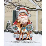 G.DeBrekht 8118081M Wooden Holiday Fawn Christmas Decorative Hanging or Freestanding Figurine for Home & Garden