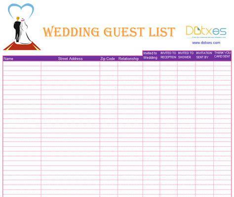 A Preofesional Excel blank wedding guest list   List