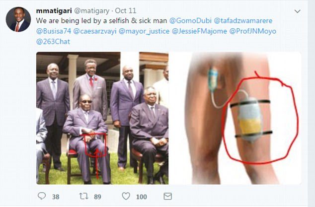 This is the post O'Donovan is accused of writing. It was shared under the Twitter handle @matigary on October 11 and includes a photograph which the user said appeared to show he was using a catheter