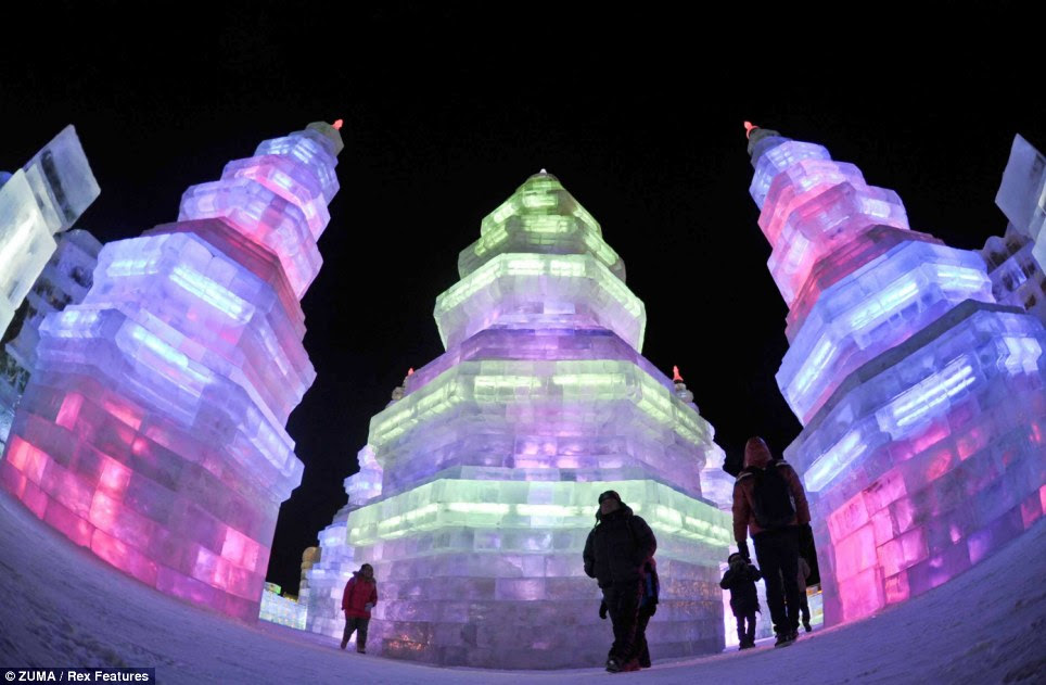 Cool tradition: The very first festival is thought to have been held in 1963 in Harbin celebrating the local tradition of turning ice into lanterns