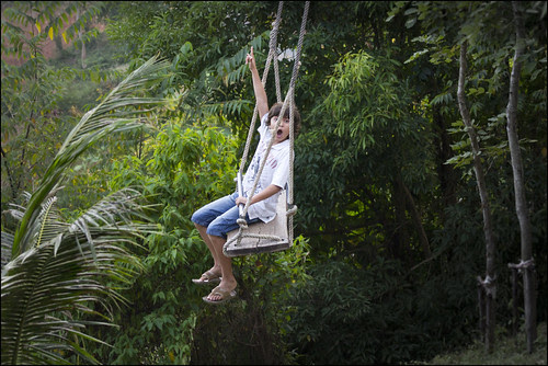Enjoying the swing at 360 Degree Cafe, Phang Nga