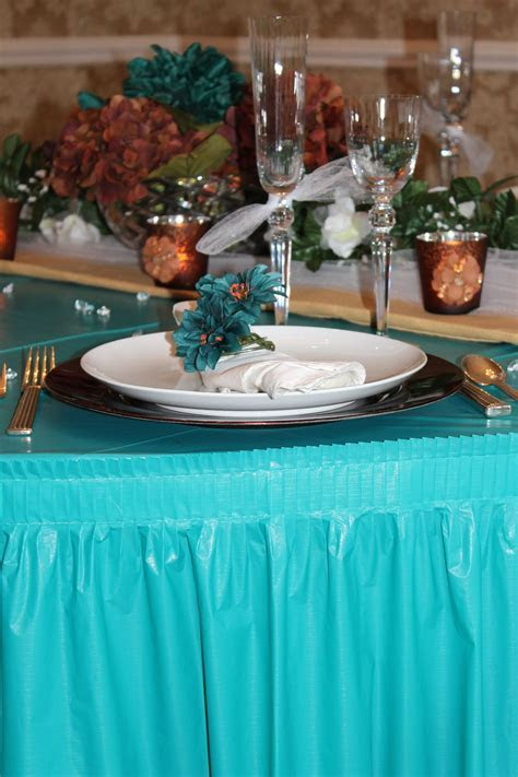 Teal Table cloth for a copper and teal party/ wedding